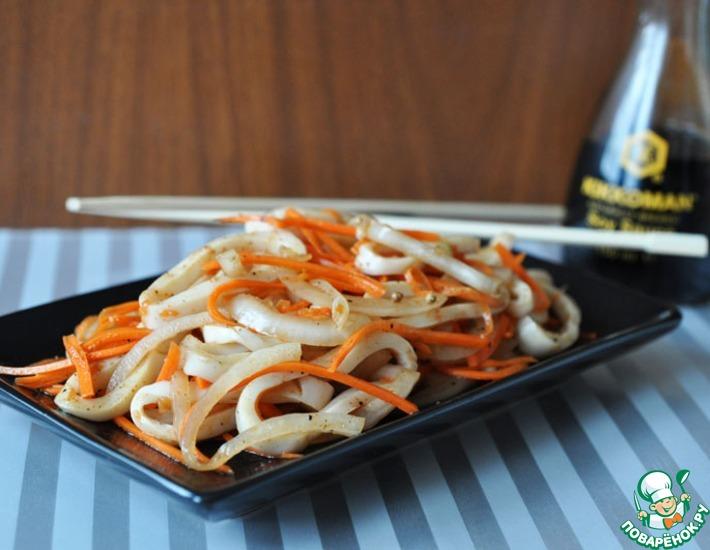 Рецепт: Закуска из маринованного кальмара
