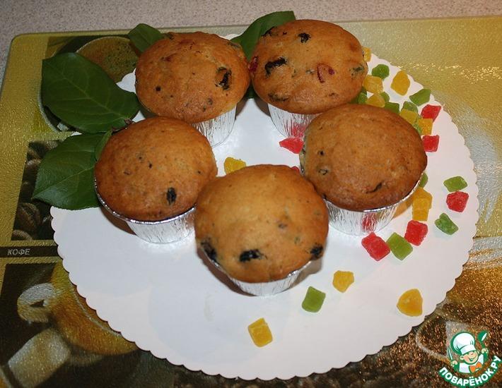 Рецепт: Кексы с изюмом и цукатами