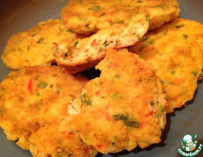 Рецепт: Крабовые котлетки с омлетом