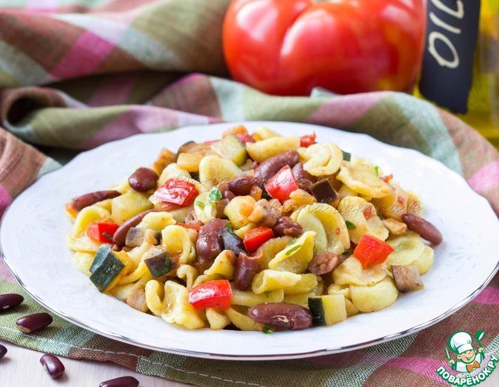 Рецепт: Домашняя паста орекьетте с рагу из овощей и фасоли