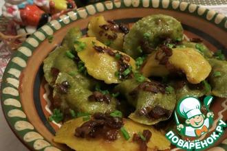Рецепт: Постные кукурузно-шпинатные вареники на пару