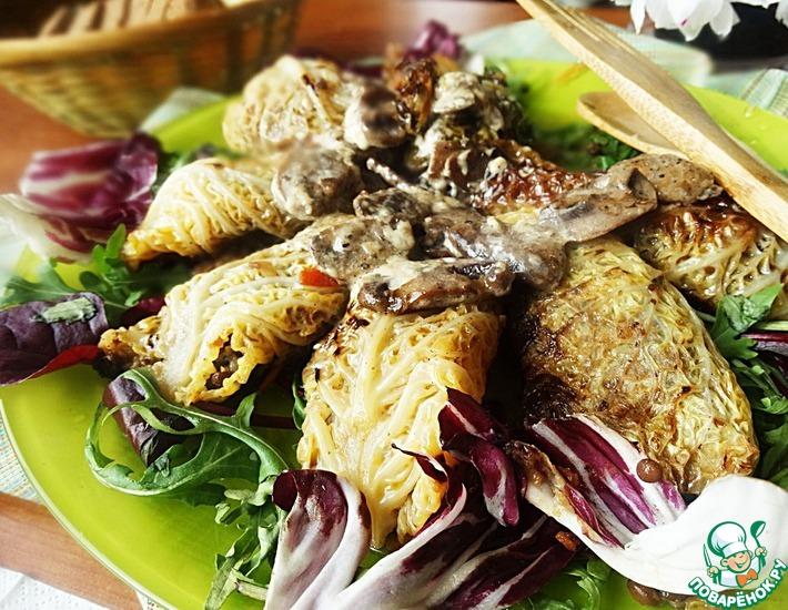 Рецепт: Голубцы из савойской капусты с чечевицей