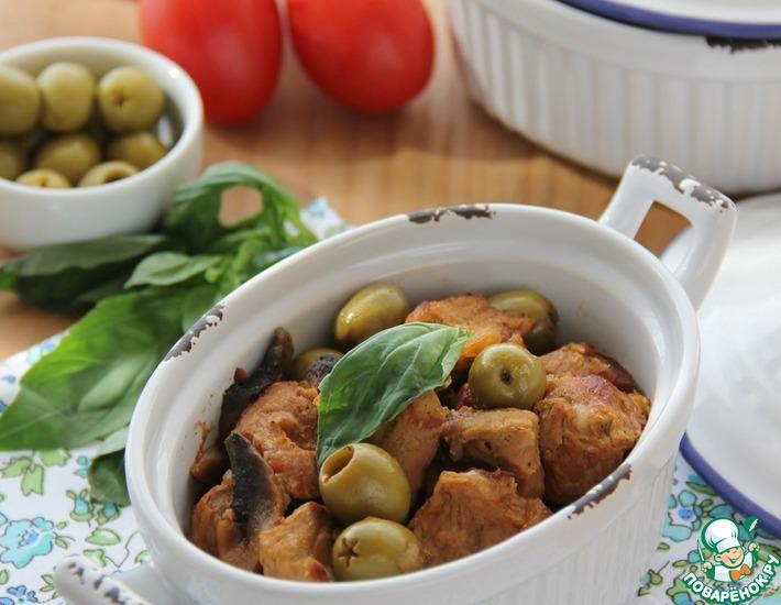 Рецепт: Тушеная телятина с оливками