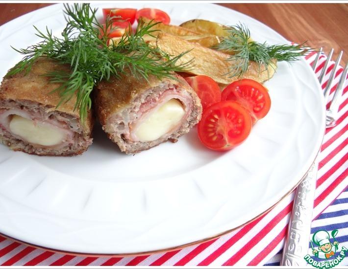 Рецепт: Зразы с начинкой из моцареллы и бекона