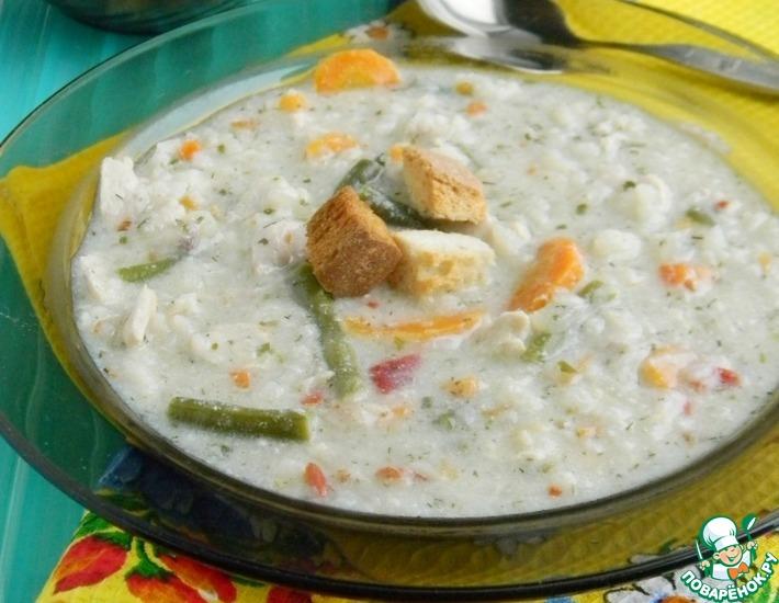Рецепт: Сливочный суп с курицей и рисом