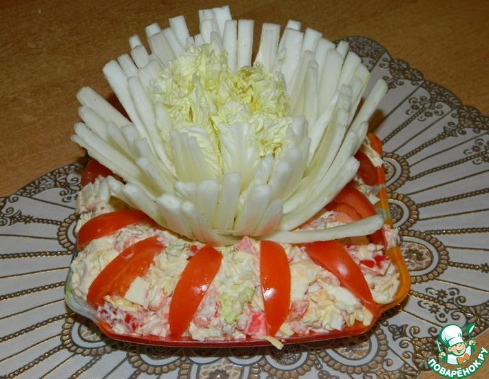 Рецепт: Салат с креветками и китайской капустой