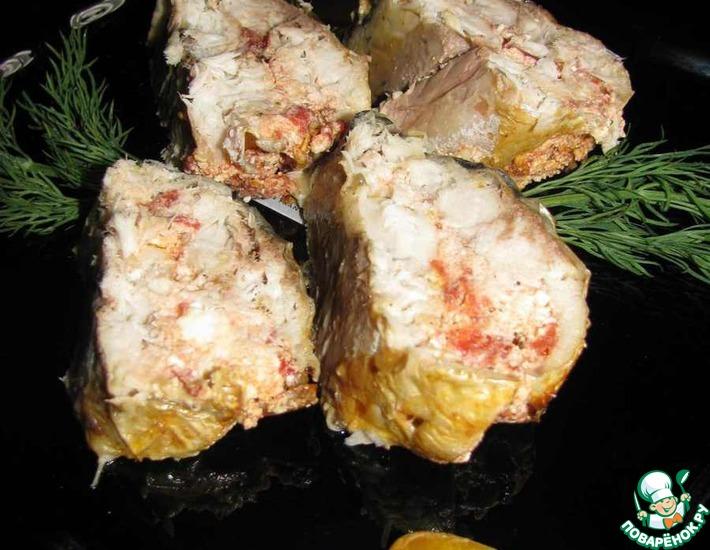Рецепт: Рулет из скумбрии с фетой и вялеными помидорами