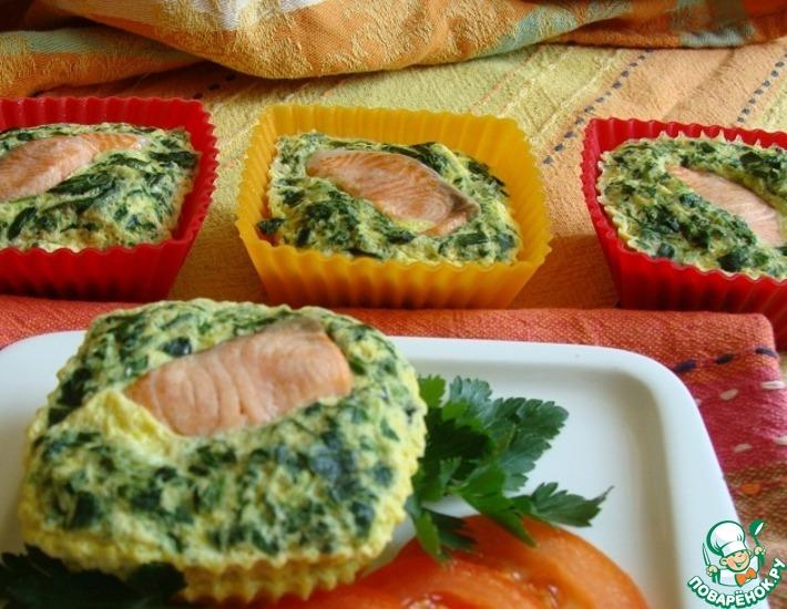 Рецепт: Рыба, запеченная со шпинатом в омлете