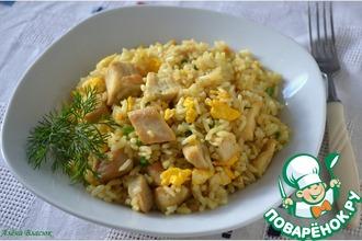 Рецепт: Жареный рис с курицей по-китайски