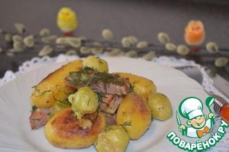 Рецепт: Картофель с окороком и брюссельской капустой