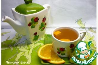 Рецепт: Компот из винограда, апельсина и зеленого чая