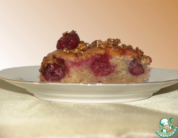 Постная коврижка с яблоком и вишней – кулинарный рецепт