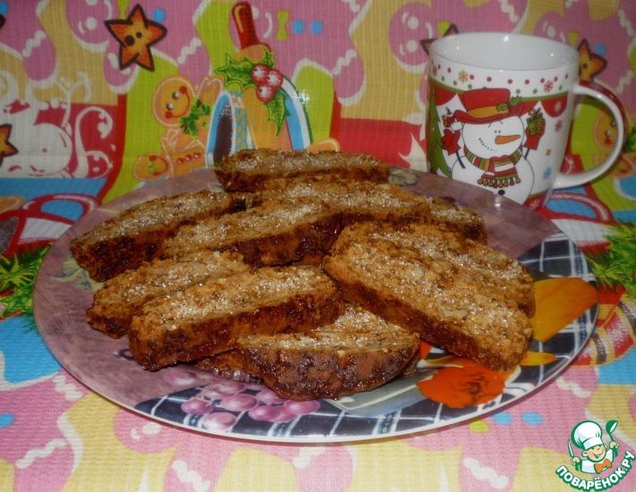 Рецепт: Карамельно-ореховые постные сухарики