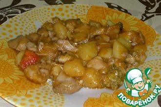 Рецепт: Овощное рагу с курицей и брокколи