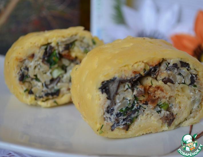 Рецепт: Кабачковый рулет с грибами и рисом