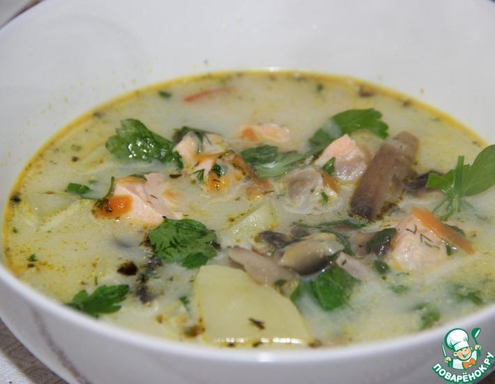 Рецепт: Супчик с грибами и красной рыбой