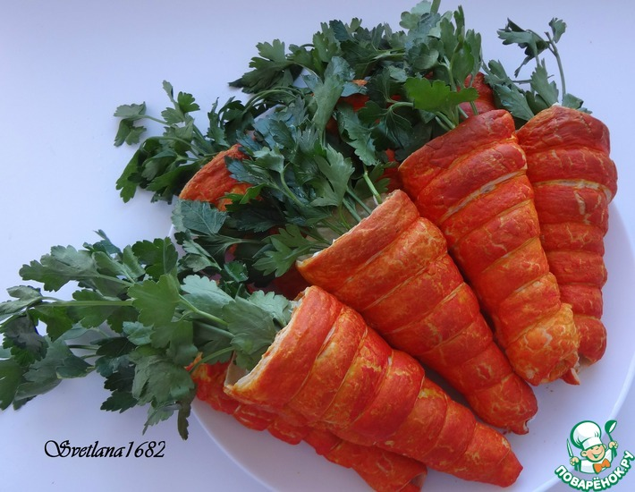 Рецепт: Салат в слоеных морковках