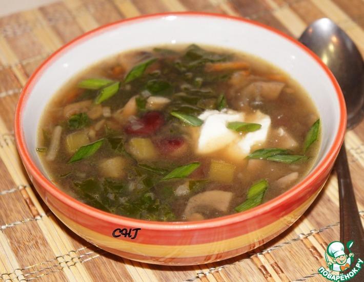Рецепт: Грибной суп с красной фасолью и шпинатом