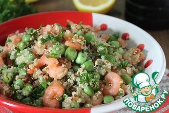 Рецепт: Салат из киноа с зелёным горошком и креветками
