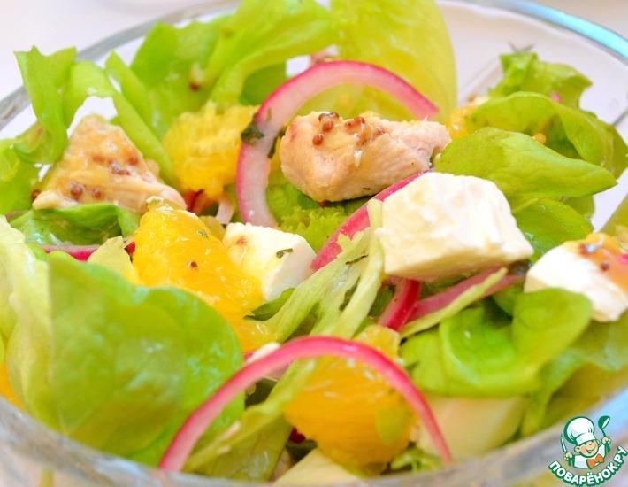Рецепт: Салат с индейкой, апельсином и фетой