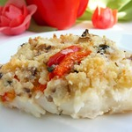 Рыба, запеченная под хлебной корочкой с творогом