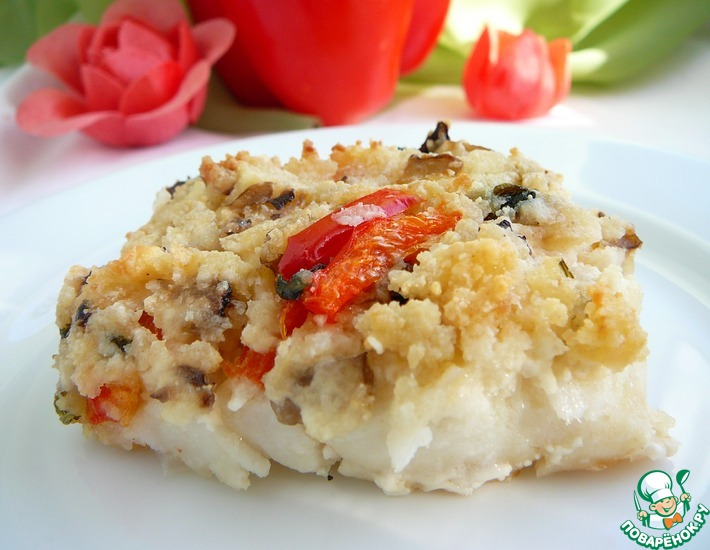 Рецепт: Рыба, запеченная под хлебной корочкой с творогом