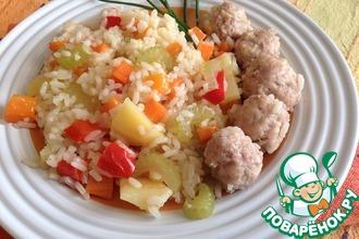 Рецепт: Ароматный рис с овощами и фрикадельками
