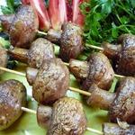 Печеные грибы-шашлычки