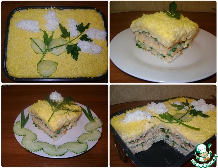 Рецепт: Слоёный салат с крекерами