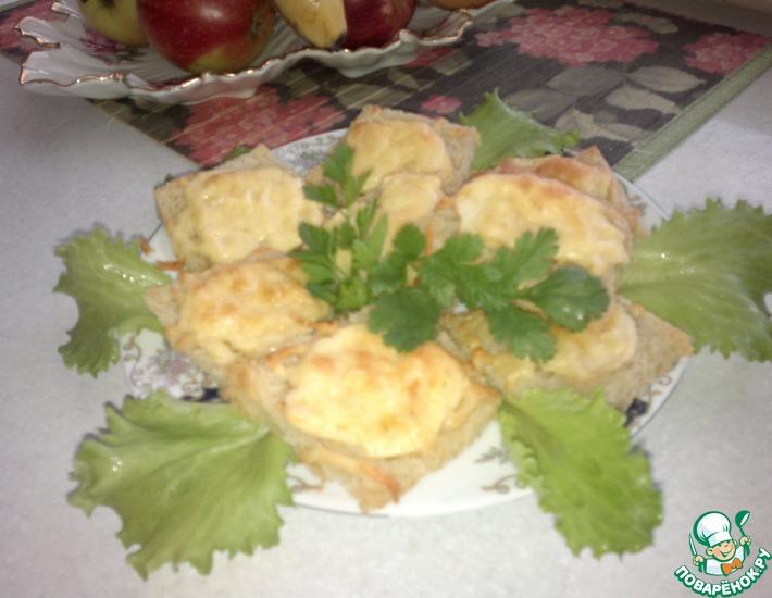 Рецепт: Гренки с сыром и яблоками