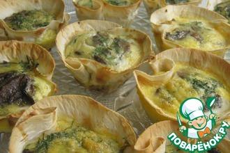 Рецепт: Корзиночки из лаваша с грибами