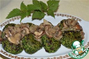 Рецепт Пшенные биточки с крапивой и грибным соусом