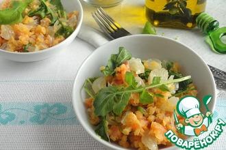 Рецепт: Постный салат с семгой и чечевицей
