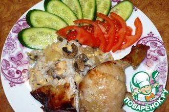 Рецепт: Курица, фаршированная ананасами и грибами