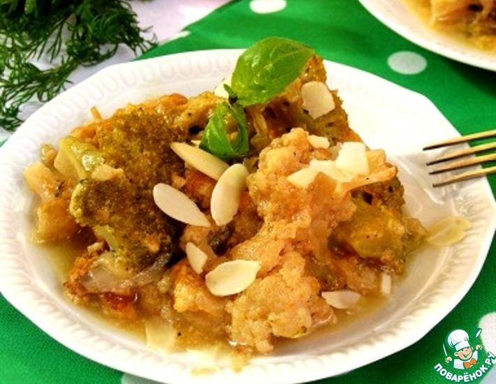 Рецепт: Гарнир из брокколи и цветной капусты