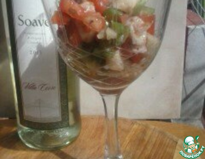 Рецепт: Салат из осминога со свежими овощами