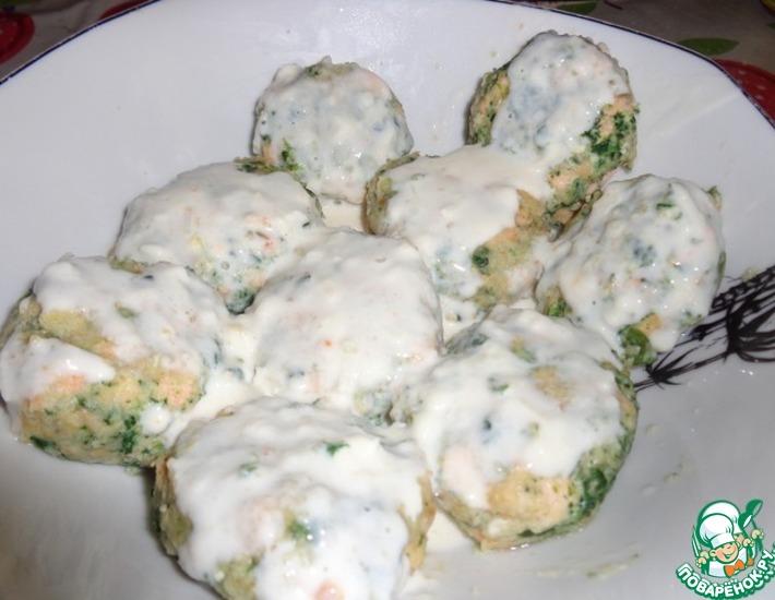 Рецепт: Биточки из семги, шпината и рикотты