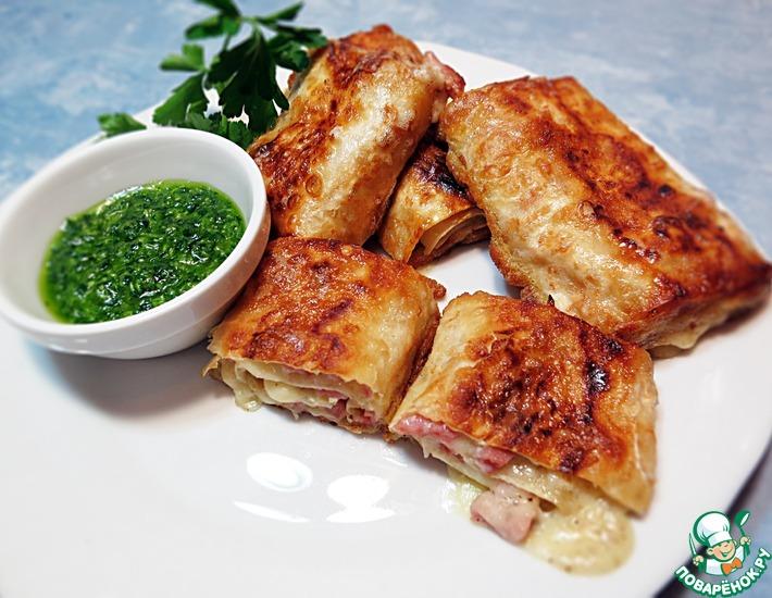 Рецепт: Лаваш с сыром и ветчиной