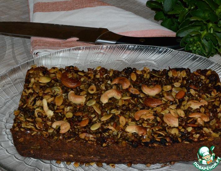 Рецепт: Чечевичный пирог с грибами, брокколи и семечками