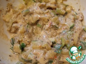In a bowl put the flour, add the spices and stir. Add soy sauce, water to a thick cream. Add 1 tsp. pour in squash mixture.
