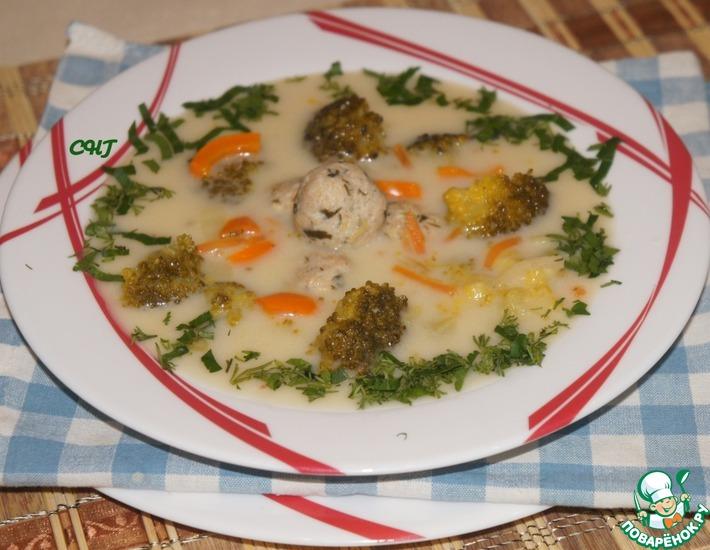 Рецепт: Сырный суп с брокколи и фрикадельками