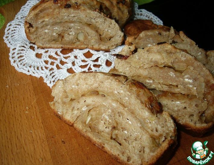 Рецепт: Хлеб с овсяными хлопьями и луком