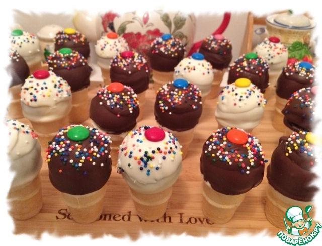 """Кейк-попсы """"Шоколадно-ванильное мороженое"""""""