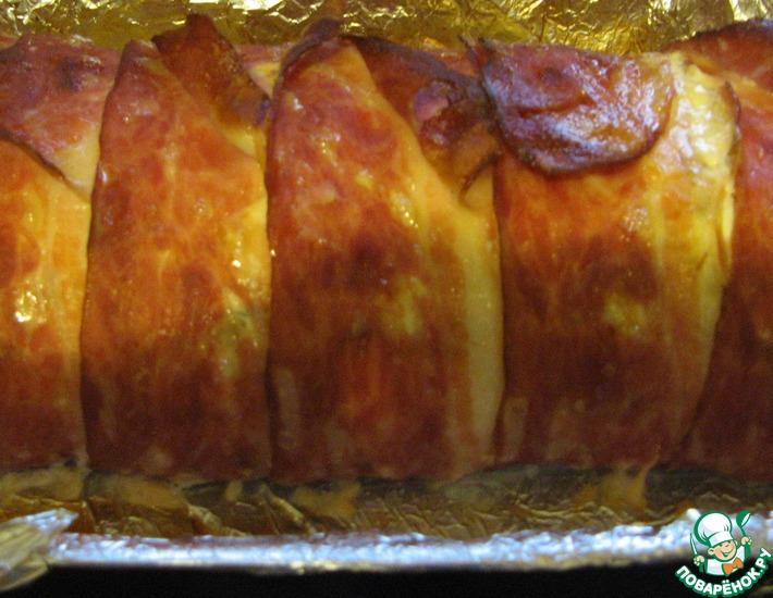 Рецепт: Куриный пирог с сыром и беконом
