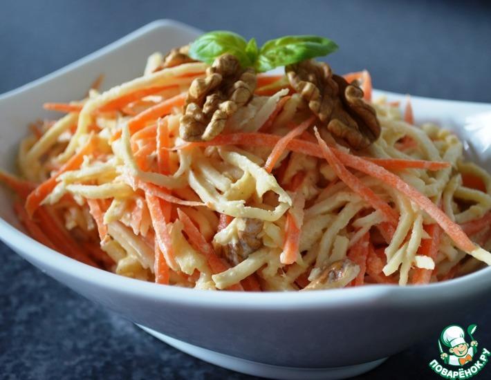 Рецепт: Салат из сельдерея, моркови и яблока