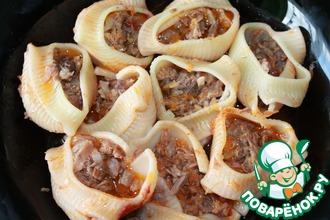 Рецепт: Фаршированные макароны Любимый сапожок