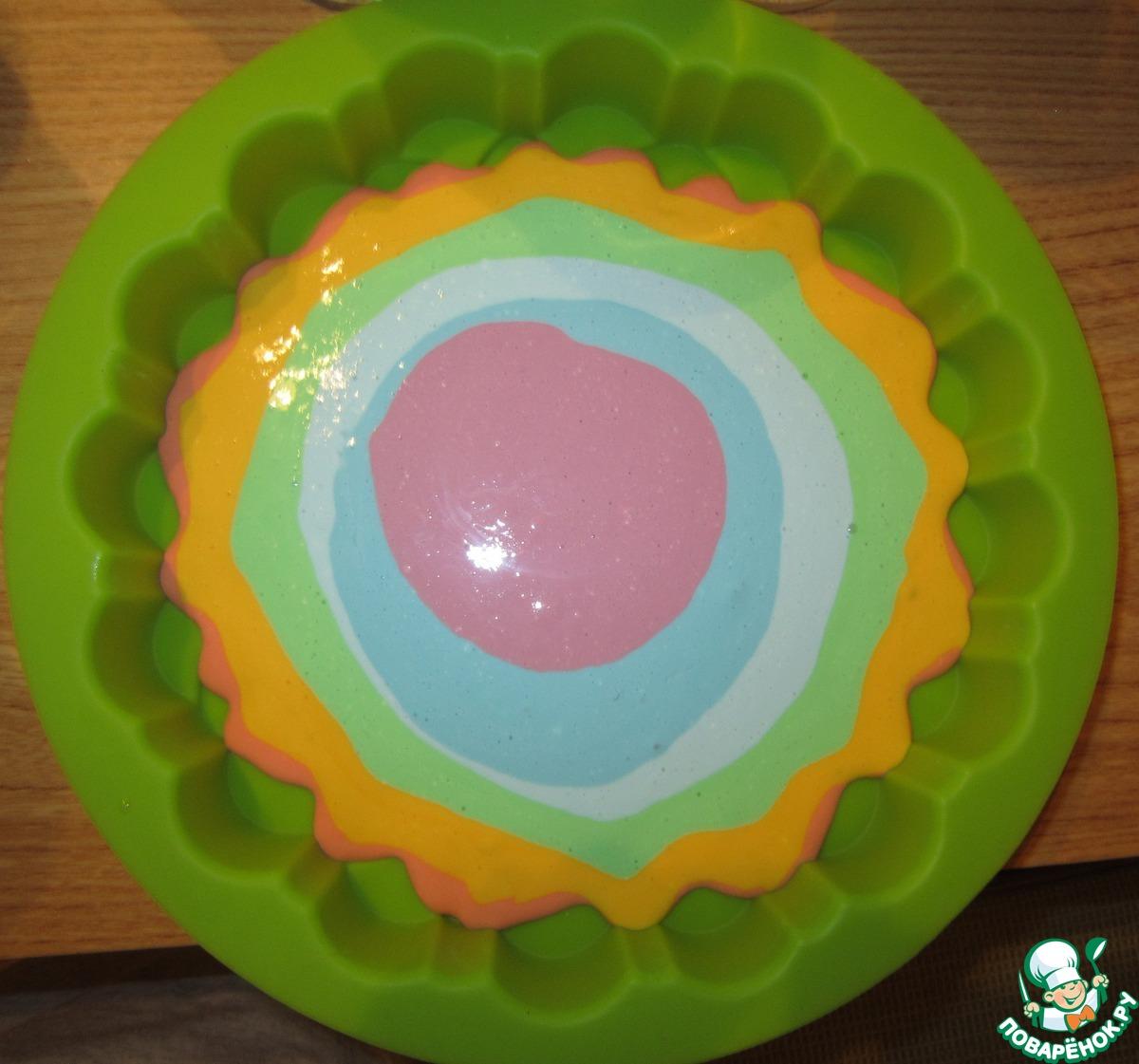 Радужный творожный десерт