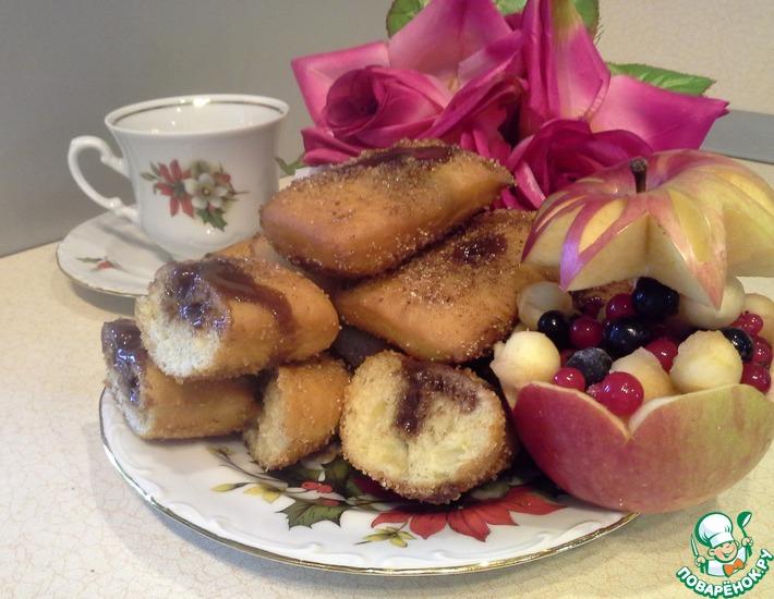 Рецепт: Пончики воздушные с шоколадом