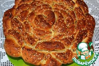 Рецепт: Турецкий чесночный хлеб Роза с базиликом