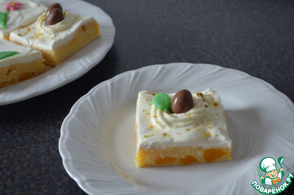 Сливочно-персиковое пирожное